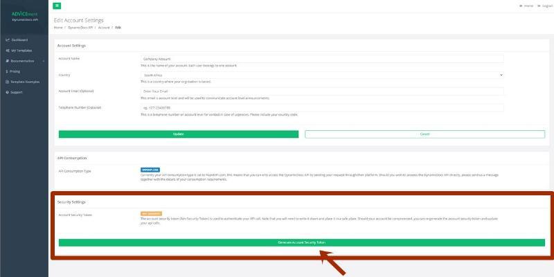 ADVICEment DynamicDocs API Account Details