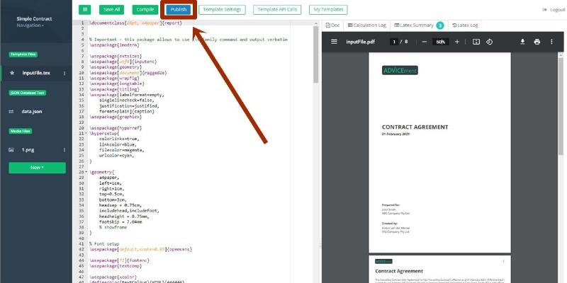 ADVICEment DynamicDocs API Template Edit