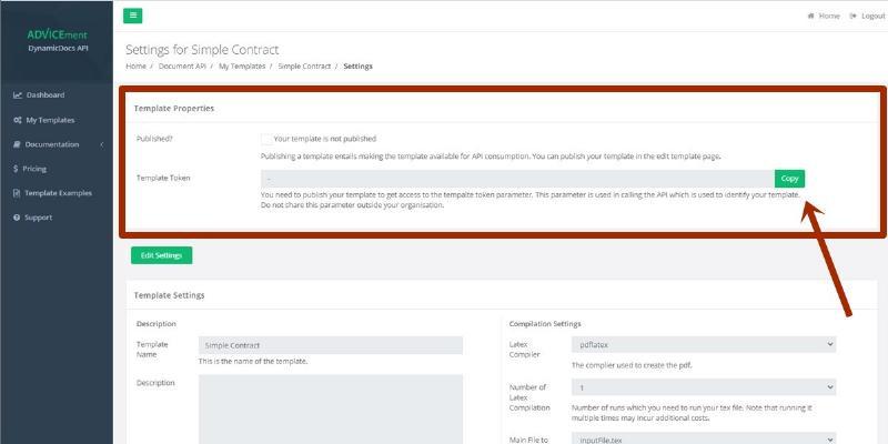 ADVICEment DynamicDocs API Template Settings